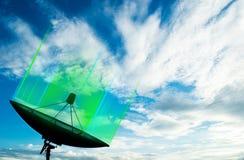 Satellite dish transmission data on background blue sky. Satellite dish transmission data on blue sky vector illustration