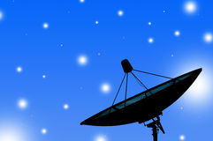 Satellite dish transmission data on blue background 1. Satellite dish transmission data on blue background wallpaper Stock Photography