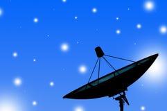 Satellite dish transmission data on blue background 1 Stock Photography