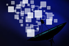 Satellite dish transmission data on blue background Stock Photography