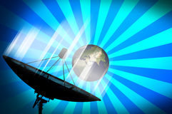 Satellite dish transmission data on blue background 2. Satellite dish transmission data on blue background. Whole world land and oceans from NASA vector illustration