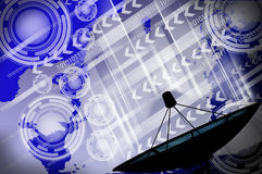 Satellite dish transmission data. Communication royalty free stock photography