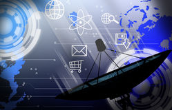 Satellite dish transmission data Royalty Free Stock Photo
