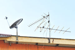 Satellite dish and tv antenna at the roof Royalty Free Stock Photography