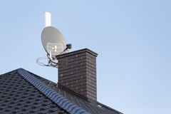 Satellite dish and tv, radio and wireless internet Stock Photo