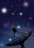 Satellite dish under starry night Royalty Free Stock Image