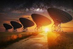 Satellite dish view at night Stock Photo