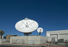 Satellite dishes. At an earth station Stock Images