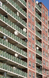 Satellite Dishes. On a residential flat stock photography