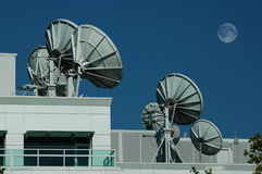 Satellite Dishes 2. Array of radio frequency dish telescopes Royalty Free Stock Photography