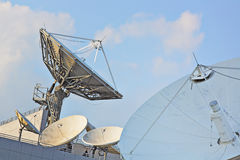 Satellite dishes. Group on the building stock photography