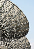 Satellite dishes. In close up stock photo