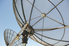 Satellite Dishes. Upward view of Satellite Dishes against a spotless blue summer sky Stock Photography