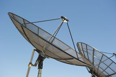 Satellite Dishes. Upward view of Satellite Dishes, against a spotless blue summer sky Royalty Free Stock Image