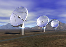 Satellite Dishes. 3 Satellite dishes listening to the sky - 3D Illustration royalty free stock photo