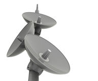 Satellite Dishes. A 3D illustration of satellite dishes meant for communication, isolated on a white background Stock Image