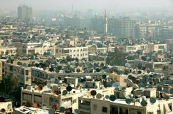 Satellite dishes. A view of Aleppo, Syria, with lots of satellite dishes Stock Photos