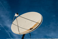 Satellite dishes aimed at the sky Stock Photo