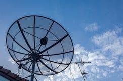 Satellite dishes antenna. On blue sky Royalty Free Stock Photos