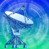 Satellite Dishes Antenna - doppler radar and blue technology background. Satellite Dishes Antenna - doppler radar, digital wave and blue technology background stock illustration