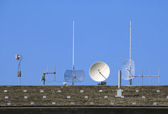 Satellite dishes and antennas Royalty Free Stock Photo