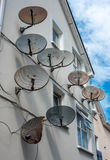 Satellite dishes on building Stock Photography