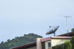 Satellite dishes for communication on the building Stock Images