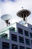 Satellite Dishes, Communication Media Center. Royalty Free Stock Images
