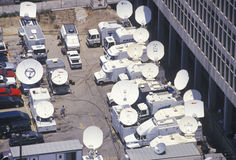 Satellite dishes covering the O.J. Simpson trial Royalty Free Stock Photos