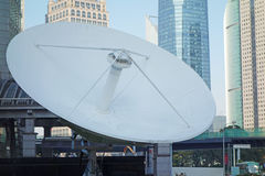 Satellite dishes. With modern buildings,located in shanghai,china Royalty Free Stock Photo