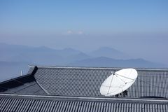 Satellite dishes. In the mountains Royalty Free Stock Image