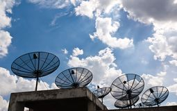 Satellite dishes that are several black Stock Photos