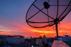 Satellite dishes on sunset Royalty Free Stock Image