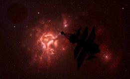 Satellite e nebulosa Fotografie Stock Libere da Diritti