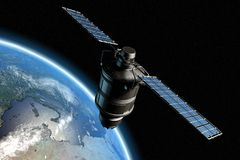 Satellite and earth 10. Satellite orbiting earth, photo-realistic high-res 3D rendering Stock Illustration