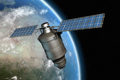 Satellite and earth 11. Satellite orbiting earth, photo-realistic high-res 3D rendering Royalty Free Illustration