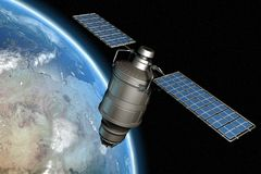 Satellite and earth 12. Satellite orbiting earth, photo-realistic high-res 3D rendering Stock Images