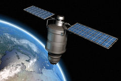 Satellite and earth 13. Satellite orbiting earth, photo-realistic high-res 3D rendering Stock Photos