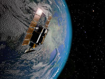 Satellite and Earth. A satellite over the Earth, on a stars background Royalty Free Stock Image