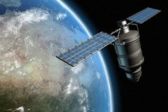Satellite and earth 14. Satellite orbiting earth, photo-realistic high-res 3D rendering Stock Photography