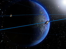 Satellite and Earth 2. Satellites and their orbital trajectory over the Earth, on a stars background Stock Image