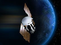 Satellite and Earth 3. A satellite over the Earth, on a stars background Royalty Free Stock Image