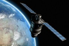Satellite and earth 9. Satellite orbiting earth, photo-realistic high-res 3D rendering Royalty Free Stock Photography