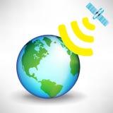 Satellite and earth globe Stock Photo