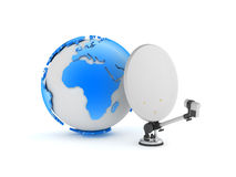 Satellite and earth globe on white background Stock Photos