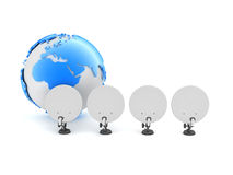 Satellite and earth globe on white background Stock Images