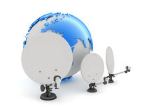 Satellite and earth globe on white background Royalty Free Stock Images