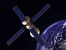 Satellite in earth orbit Royalty Free Stock Image