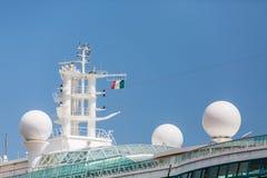 Satellite Equipment On Cruise Ship Under Italian Flag Stock Photos