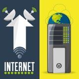 Satellite et routeur connexes avec la connectivité d'Internet illustration de vecteur